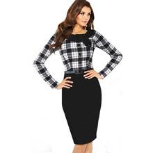 Nuevas mujeres del otoño botón elegante estiramiento túnica desgaste de la tela escocesa de extremo a extremo de trabajo Casual de negocios oficina Formal partido lápiz vestido tubo