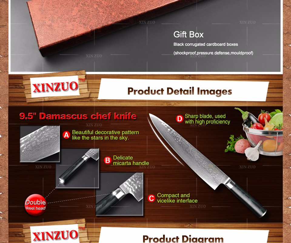 Buy XINZUO HIGH QUALITY 9.5 inch chef knife  Damascus kitchen knife woman chef knife with Japaness knife wood handle free shipping cheap