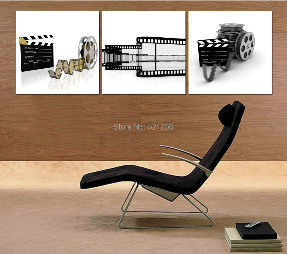 Modern Wall Art Home Decoration Printed Oil Painting Pictures Canvas Prints No Frame 3 Piece Black and White Movie Taker Film(China (Mainland))