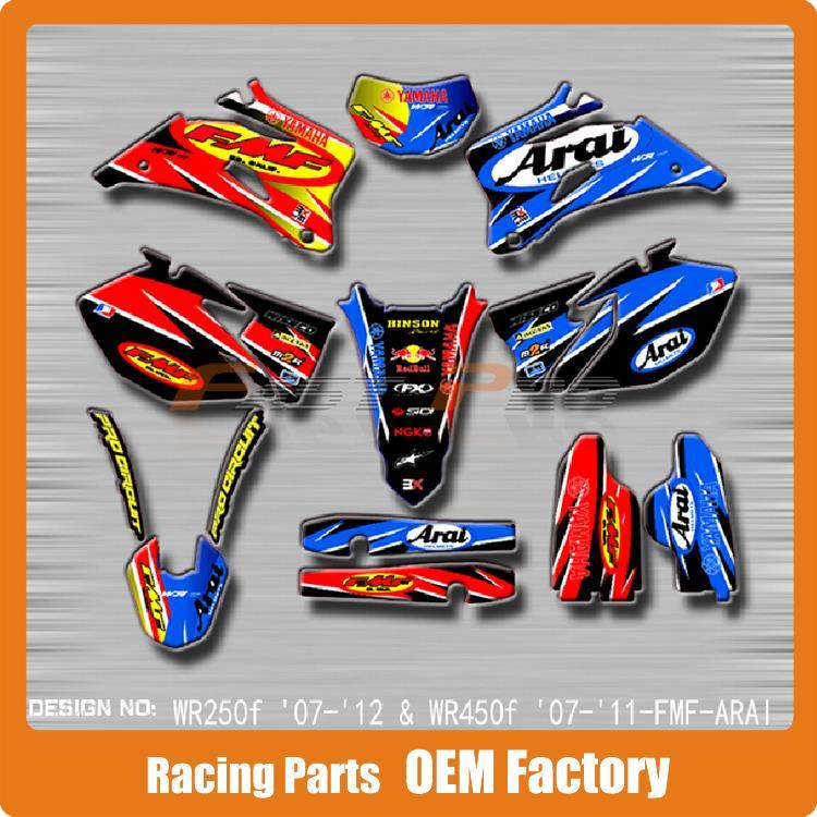 Здесь можно купить  Customized Team Graphics & Backgrounds Decals 3M Stickers FMF ARAI For WRF WR250F WRF250 07-12 WR450F WRF450 07-11   Автомобили и Мотоциклы