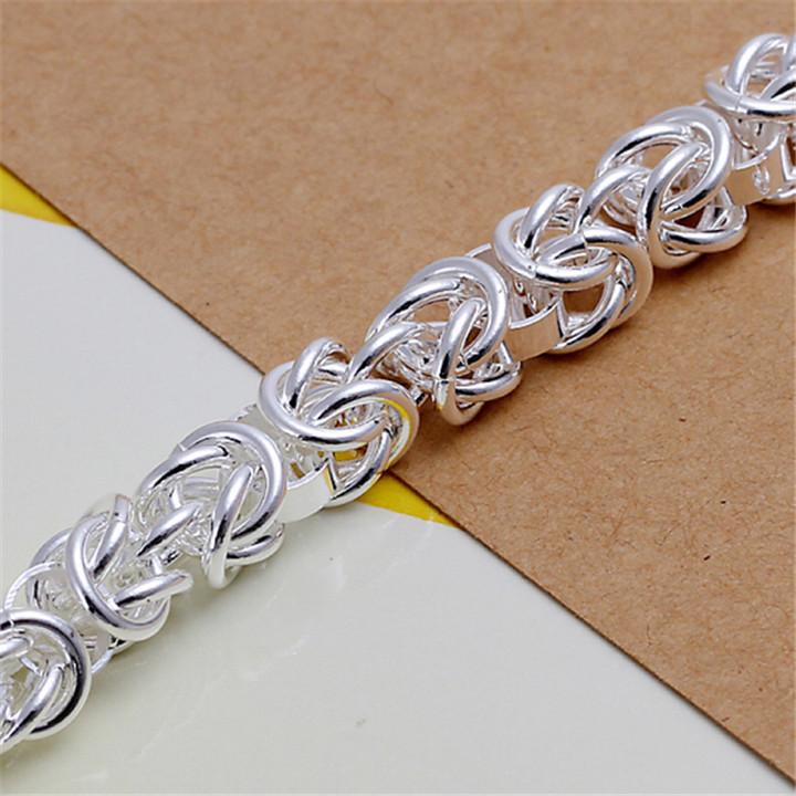 Bracelets 2015 New 925 Sterling Silver Plate Fashion Jewelry Reticular Longtou Women Men Charm Individuality Bracelets
