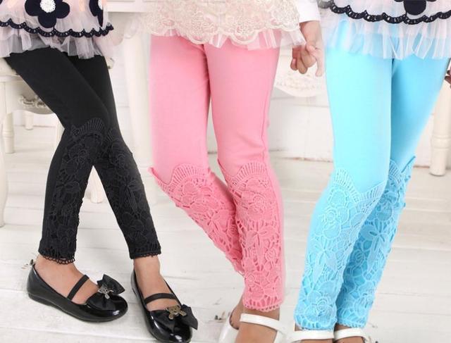 Новые 2014 детей девушки осень зима кружева цветок брюки, Детская девушка узкие брюки бесплатная доставка