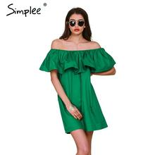 Simplee Apparel Ruffles slash neck women dress Summer style off shoulder sexy dresses vestidos White tube beach dress cotton(China (Mainland))