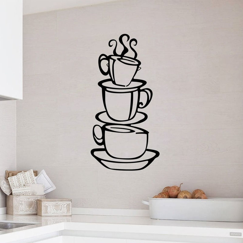 Three Coffee Cups Wall Sticker Kitchen Decor Vinyl Waterproof Creative Home Decorative Decals