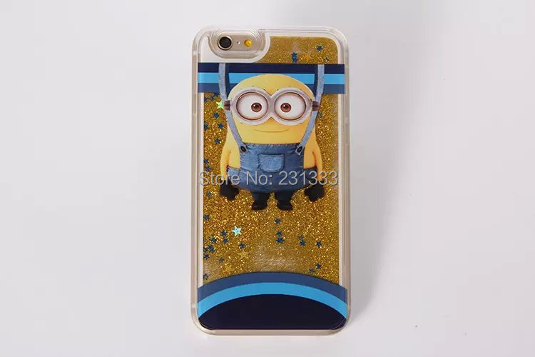 For iphone 6 / Plus 5.5 Despicable Me Liquid Quicksand Dynamic Flowing Bling Hard PC Case Cartoon Yellow Minion Skin Cover 10pcs