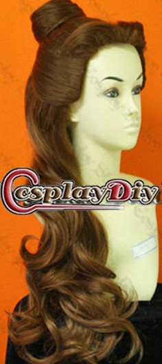 Free Shipping Princess Belle Wig From Beauty And The Beast Cosplay Belle Wig(China (Mainland))