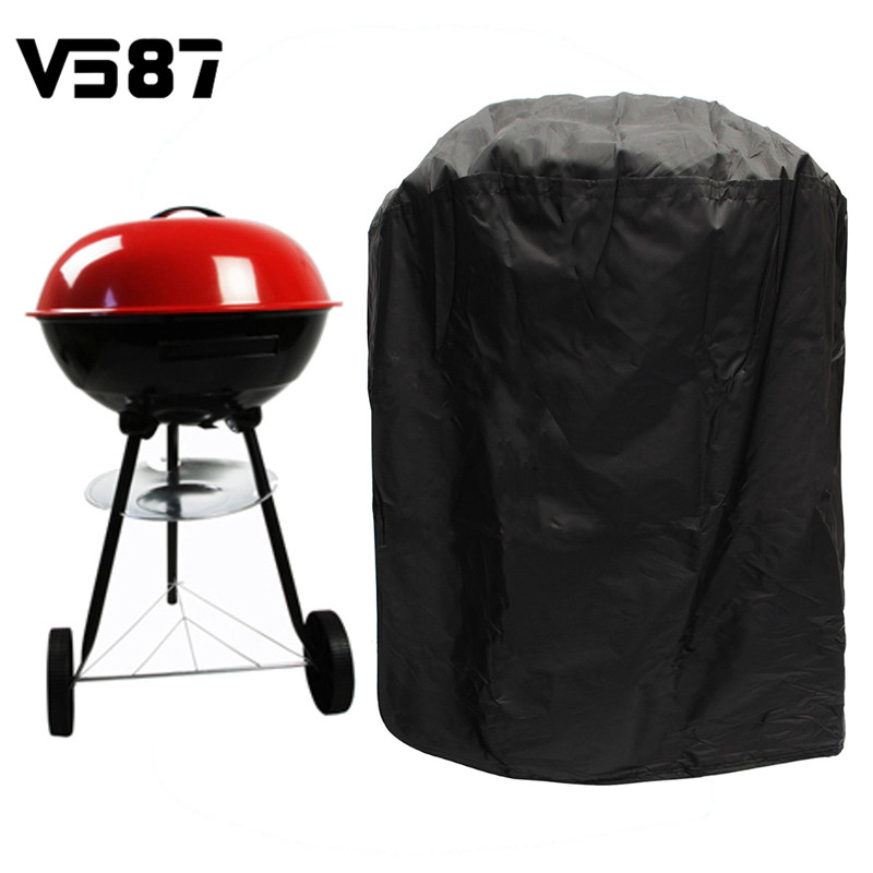 BBQ Grill Cover 77cm Round Portable Protector Waterproof Gas Electric Barbecue Stove Black Color Dust Prevention(China (Mainland))