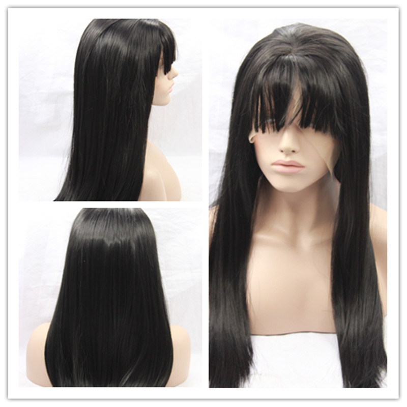 2016 Hot Sale Heat Resistant Synthetic Lace Front Wigs Natural Straight Black Wigs with Bangs for Women