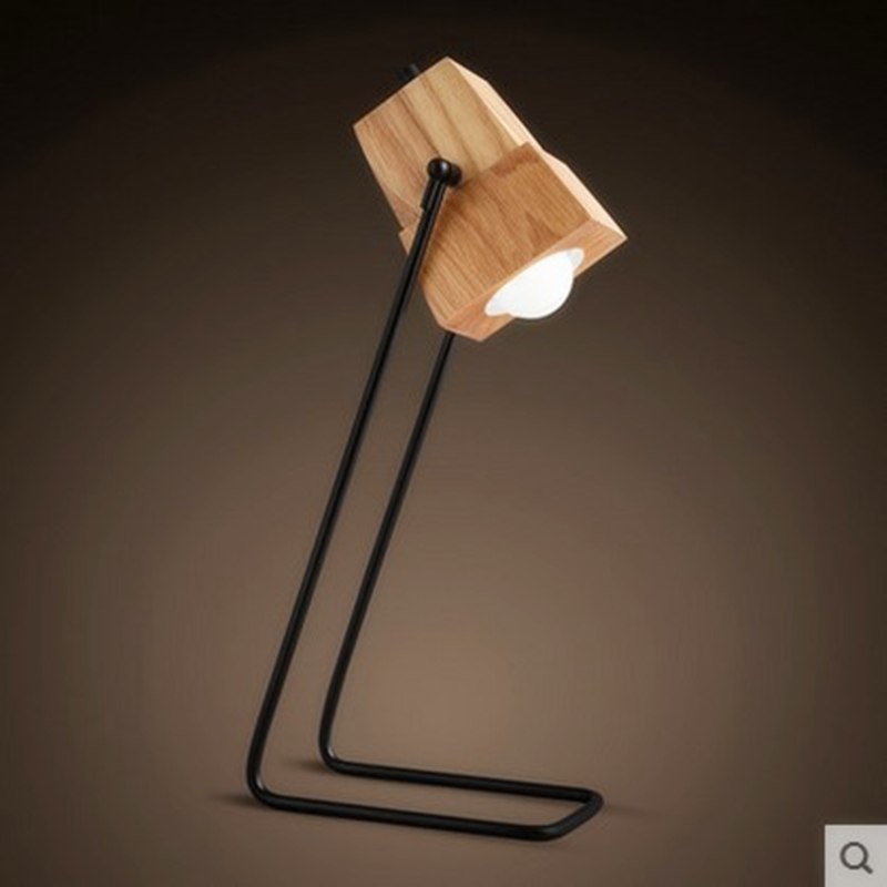 Novel wooden Table Lamp 410mm Modern Industrial lamp wood table lamp for reading Style desk lighting Bedside lamp warm white<br><br>Aliexpress