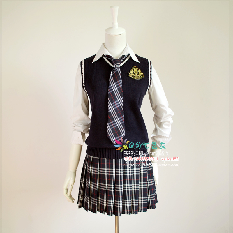 Navy blue sweater vest blue plaid skirt costumes British school female suits Japanese school uniform class service.Одежда и ак�е��уары<br><br><br>Aliexpress