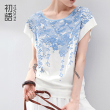 Toyouth 3D Cherry Blossom Flower Printed Women Summer Batwing Short Sleeve O-neck Chic Fashion Casual Tee T-shirt(China (Mainland))