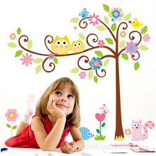 Owls with colorful tree wall stickers tall palms home decoration kids/children adhesive decal decorative pvc removable wallpaper