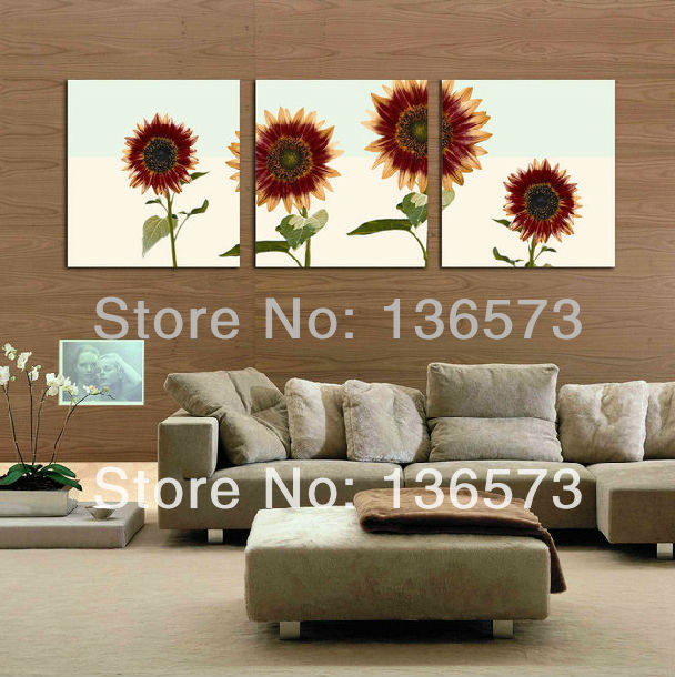 hand painted colorful sunflower wall art oil painting on. Black Bedroom Furniture Sets. Home Design Ideas