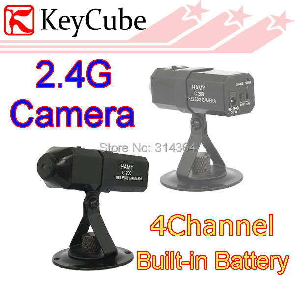 5pcs/lot 2.4G Mini Wireless Camera C200 Wireless Camera 380TV Lines Sharp Picture Display 4 Channel built in battery MIC(China (Mainland))