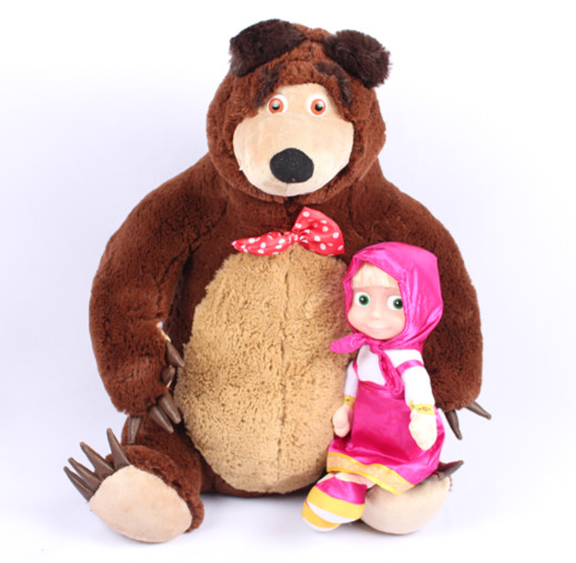 Free Shipping Russian Musical Masha and Bear Anime Toys Brand Educational Dolls For Girls Birthday Christmas New Year Gifts(China (Mainland))