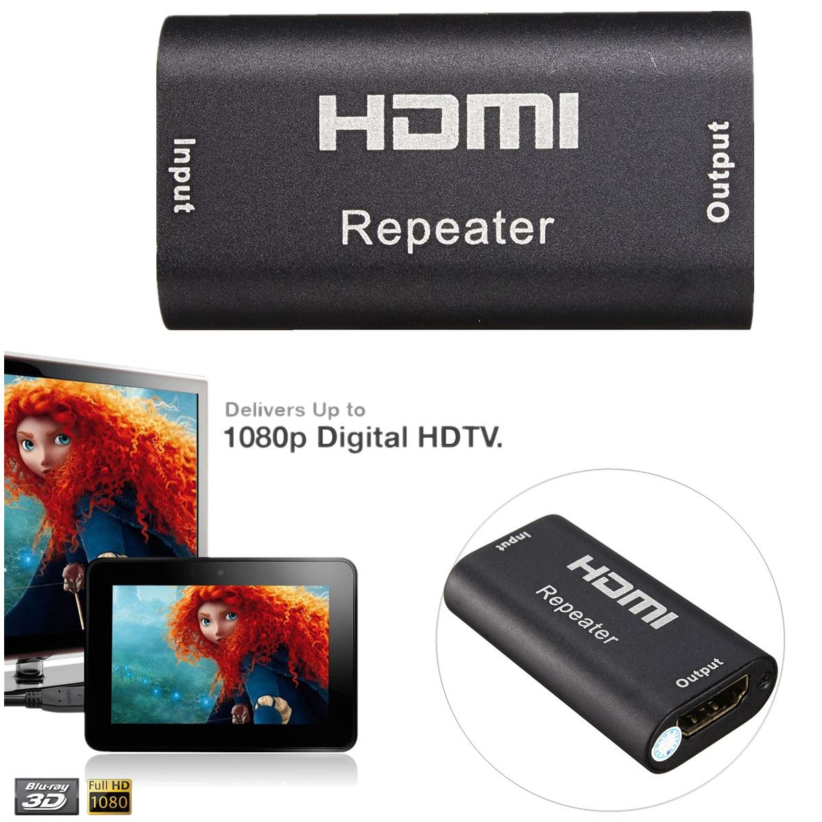 High Quality 40M 1080P 1.65Gbps Mini HDMI Repeater Extender Amplifier Booster Adapter 130FT HDTV Black(China (Mainland))