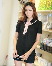 XL XXL XXXL 4XL chest 98-122cm new summer 2015 women chiffon blouse shirt large size short sleeve black bow office fashion lady(China (Mainland))