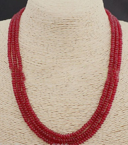 GENUINE TOP NATURAL 3 Rows 2X4mm RED RUBY BEADS NECKLACE(China (Mainland))