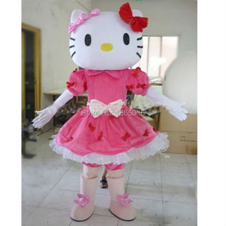 lovely Hello kitty Mascot Costume Fancy Costume Kitty Cosplay Camival Costume Free Shipping 1pc(China (Mainland))