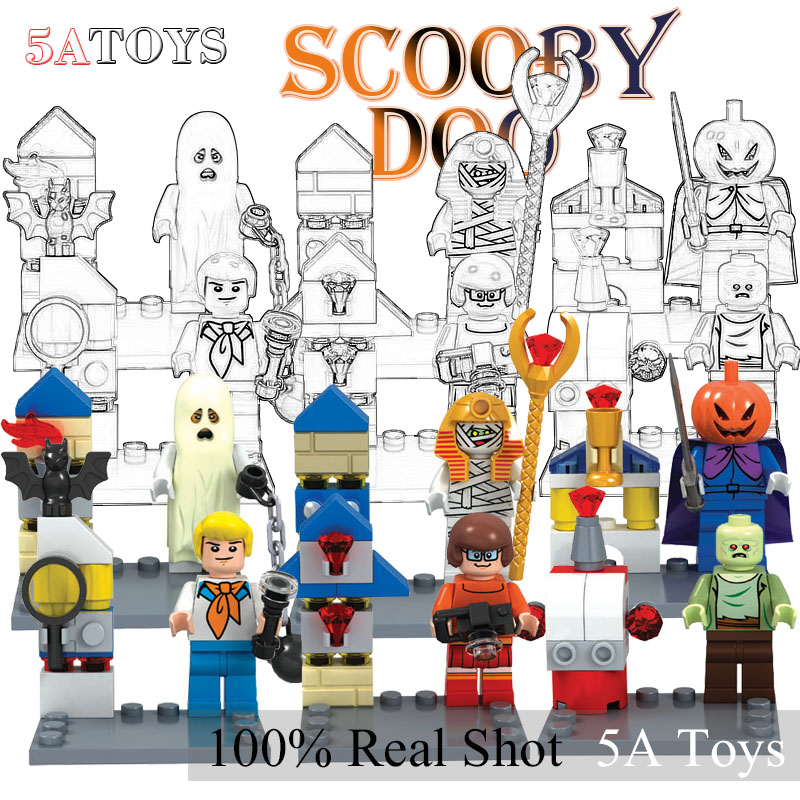 Minifigures Scooby Doo Fred/Shaggy Building Block Brick Toy For Children Bela 10455-10460 6Pcs/lot lepin compatible with lego(China (Mainland))