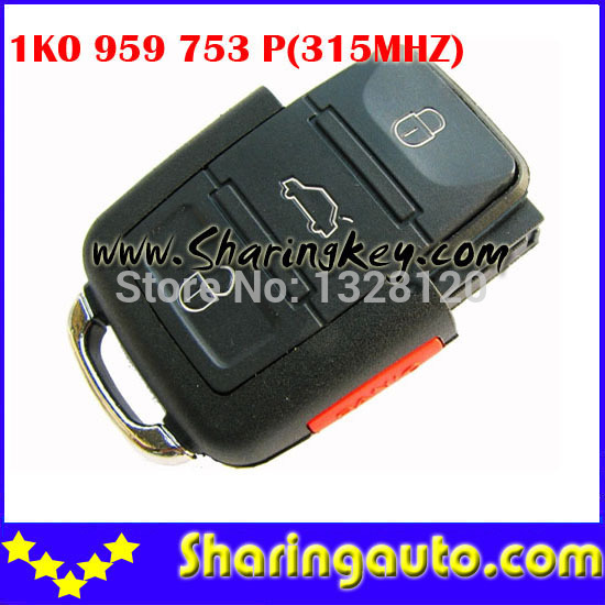 Free shipping VW 3 Button Remote With Panic-AM(USA Style) (1K0 959 753 P) with 315MHZ 1pcs/lot<br><br>Aliexpress