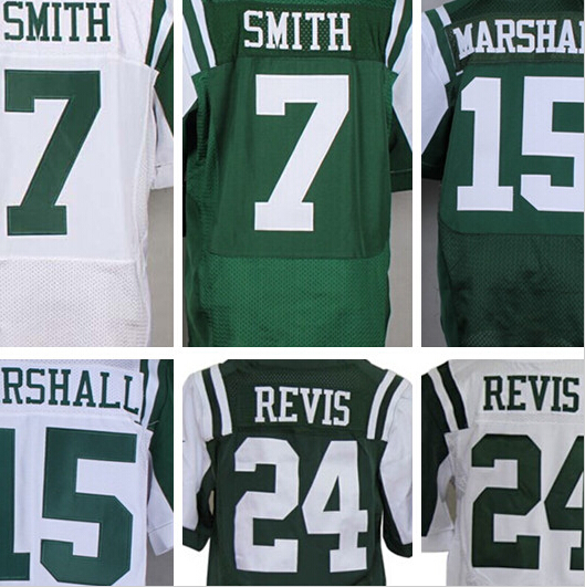 Venta al por mayor auténtico #15 Brandon Marshall #24 Darrelle Revis #7Geno Smith Elite Football Jersey(China (Mainland))