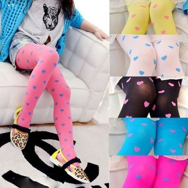 Hot Child Girls Stretchy Skinny Love Heart Tights