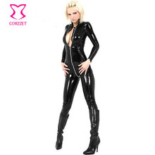 Glossy PVC Black Widow Catsuit Costume Leather Bodysuit Zipper Crotch Sexy Women Adult Superhero Costumes Halloween