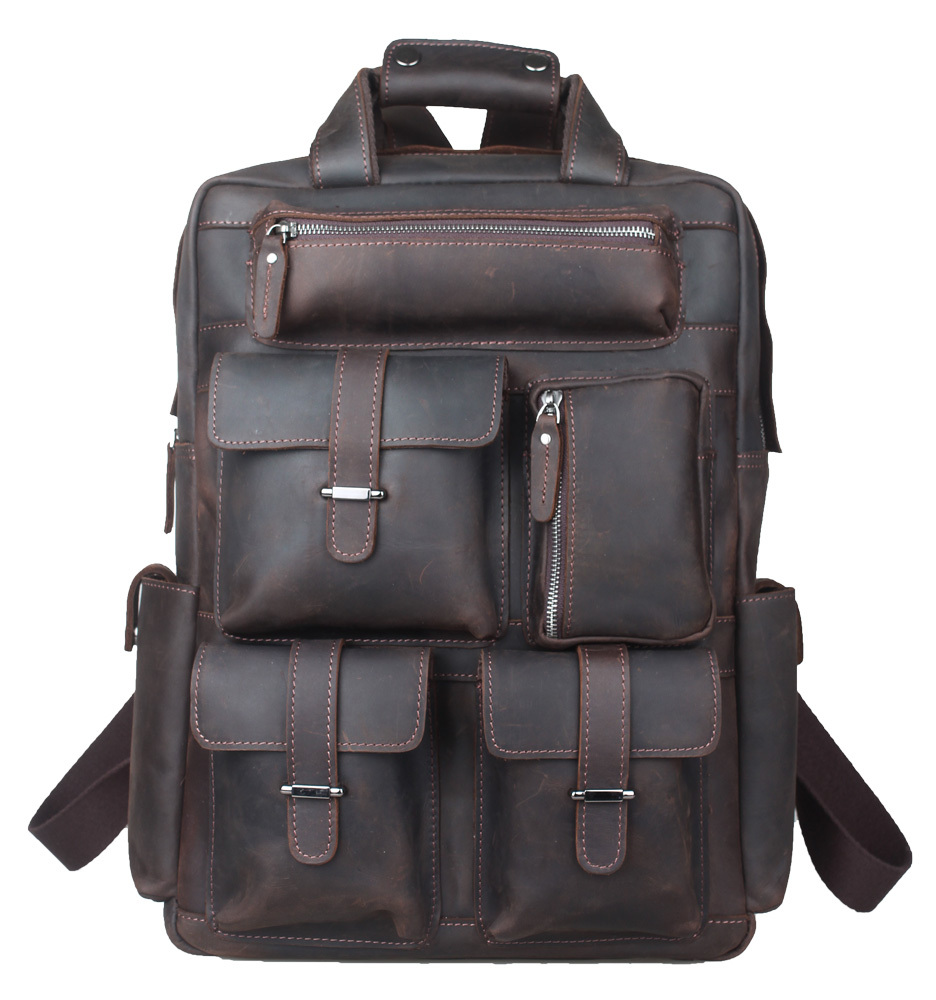 TIDING Weekender Bag, Crazy Horse Leather Backpacks For Camping Casual Style Carry On Luggage Hiking bag 3081(China (Mainland))
