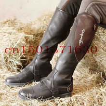 Leather Equestrian Chaps Half pants Leg protector warmer Black hard-wearing Good quality For Man Women Adults Children(China (Mainland))