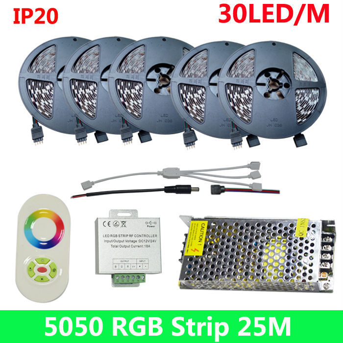 Fast Shipping Wholesale 25M 5050 RGB dream color Digital RGB LED Strip Light DC12V and 18A 5key touch controller free shipping(China (Mainland))
