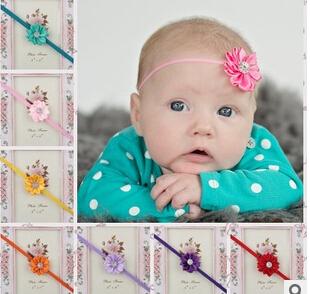 1pc New Style Baby Girls hair accessories newborn baby satin flower Headband kids Hairwear 17 colors