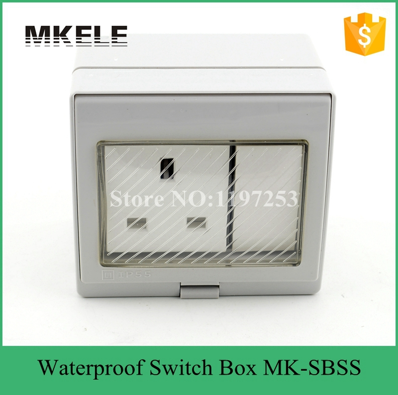 MK-SBSR high qulaity weather resistant Switch socket 13A 250V box,waterproof electrical push button switch pvc gang box(China (Mainland))