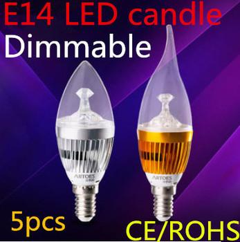 5pcs/lot  Free shipping Dimmable E14 E27 E12 B22 6W 9w 12W  15W LED Candle Light LED bulb lamp LED spot Light