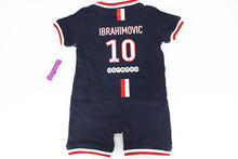 Free Shipment Baby Zlatan Ibrahimovic #10 Sport football onesie Romper soccer cute Baby 100%cotton jumpsuit for Newborn Baby