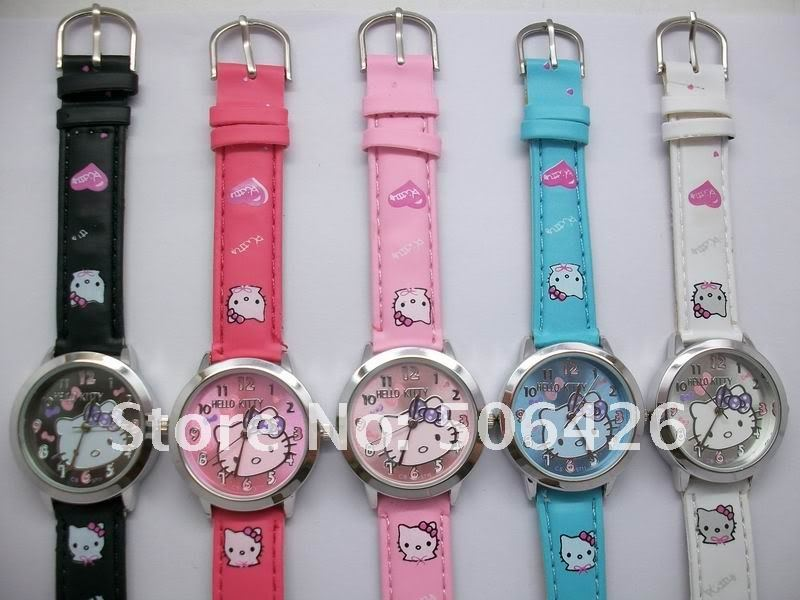 Free shipping DHL 100pcs Leather Band Hello Kitty kids girls Watch Child Watch retail Relogio wristwatch