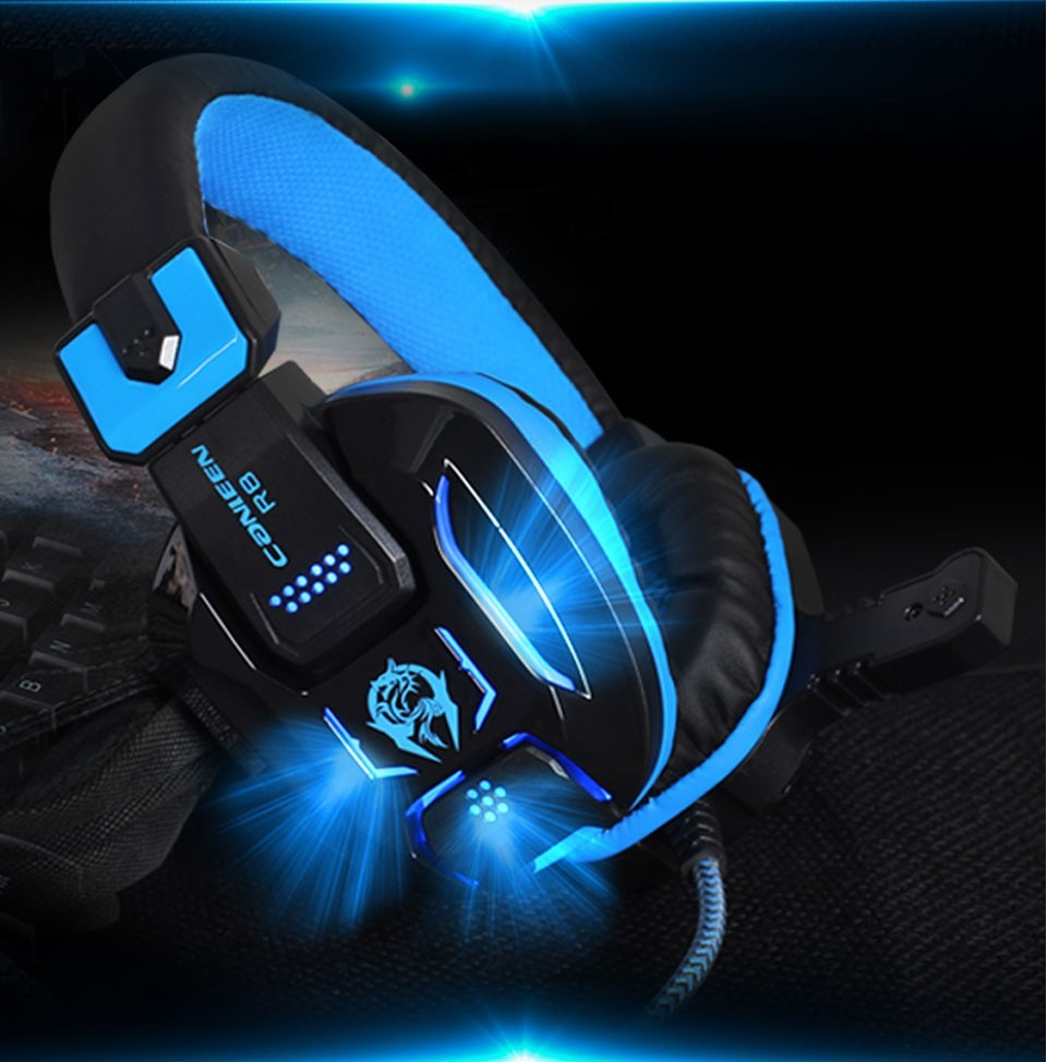 Canleen R8  Heavy Bass Light  Comfortable Computer Games LED Luminous Headphone with 3.5 mm Jack Earphone Microphones Headset