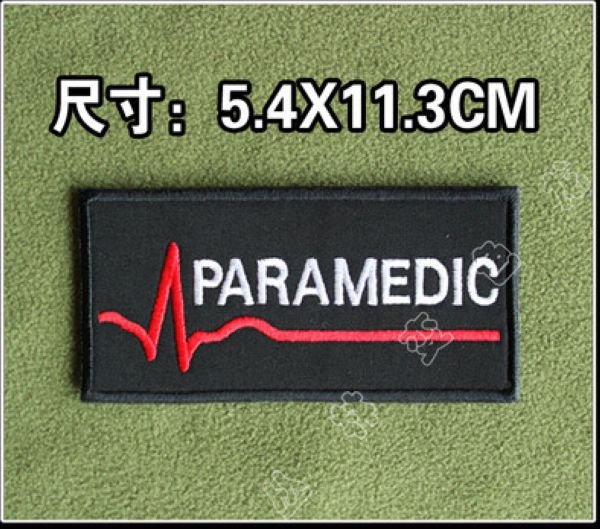 One Piece PARAMEDIC Embroidery Patch Armand Velcro TAD Tactical Gear Cloth Patches 5.4*11.3cm(China (Mainland))