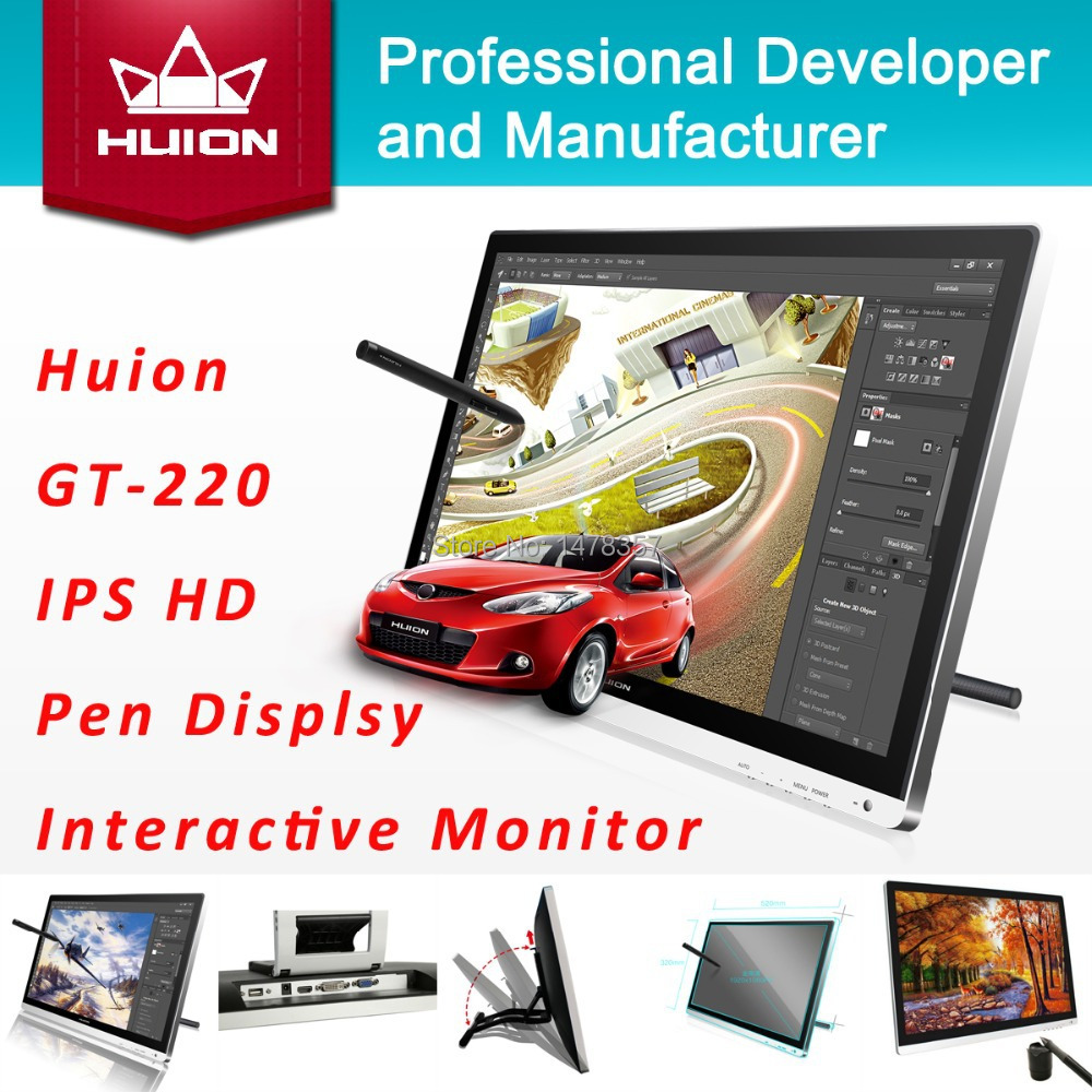 """New Huion GT-220 21.5"""" Digital Tablet Monitors Interactive Pen Display Drawing Touch Screen Panels IPS LCD Monitors With Gift(China (Mainland))"""