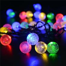 20ft 30 LED Crystal Ball Solar Powered lederTEK Brand Most Popular Globe Fairy Lights for Outdoor Garden Christmas Decoration(China (Mainland))