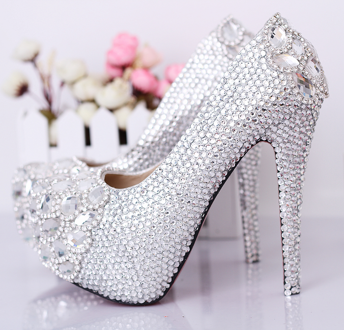 luxury bride wedding shoes crystal bridal wedding shoes rhinestone