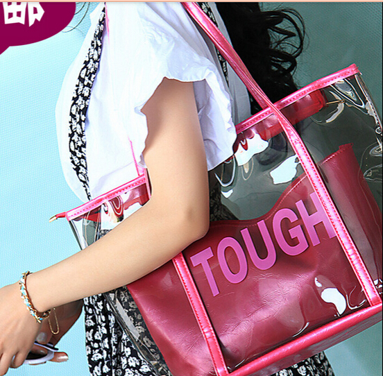 Summer Korean version bag transparent crystal package letter bag beach bags candy jelly bag women fashion beach handbag#TEY019(China (Mainland))