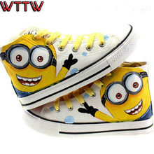 6 styles Despicable Me Minions Pattern Canvas Shoes for Women/Men casual Couple/Lovers Shoes Hand-painted Shoes Size 35-44(China (Mainland))