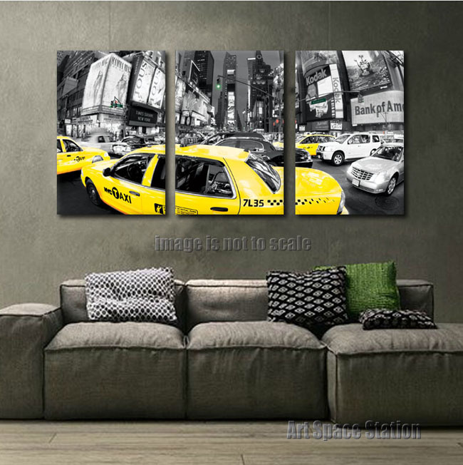 3pcs Large Black and White New York City Print Yellow Cab Poster,Traffic Taxi Photo,Rush Hour Times Square Modern Wall Art Decor(China (Mainland))