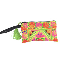 Thailand style women Cross Stitch embroidered coin bag Day Clutch chinese wallet handbag card holder bags Purse mobile phone bag(China (Mainland))