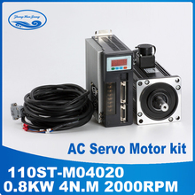 Buy 800W 3 phase electric motor cnc servo kit 4N.M 2000RPM 110ST ac servo motor Matched Servo Driver for $344.74 in AliExpress store