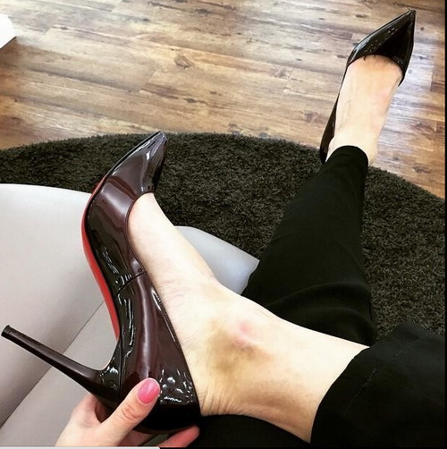 Wine Red High Heels Pointed Toe Red Bottom Bridal Wedding Shoes Red Soled Shoes Nude Black Patent Leather Women Pumps(China (Mainland))