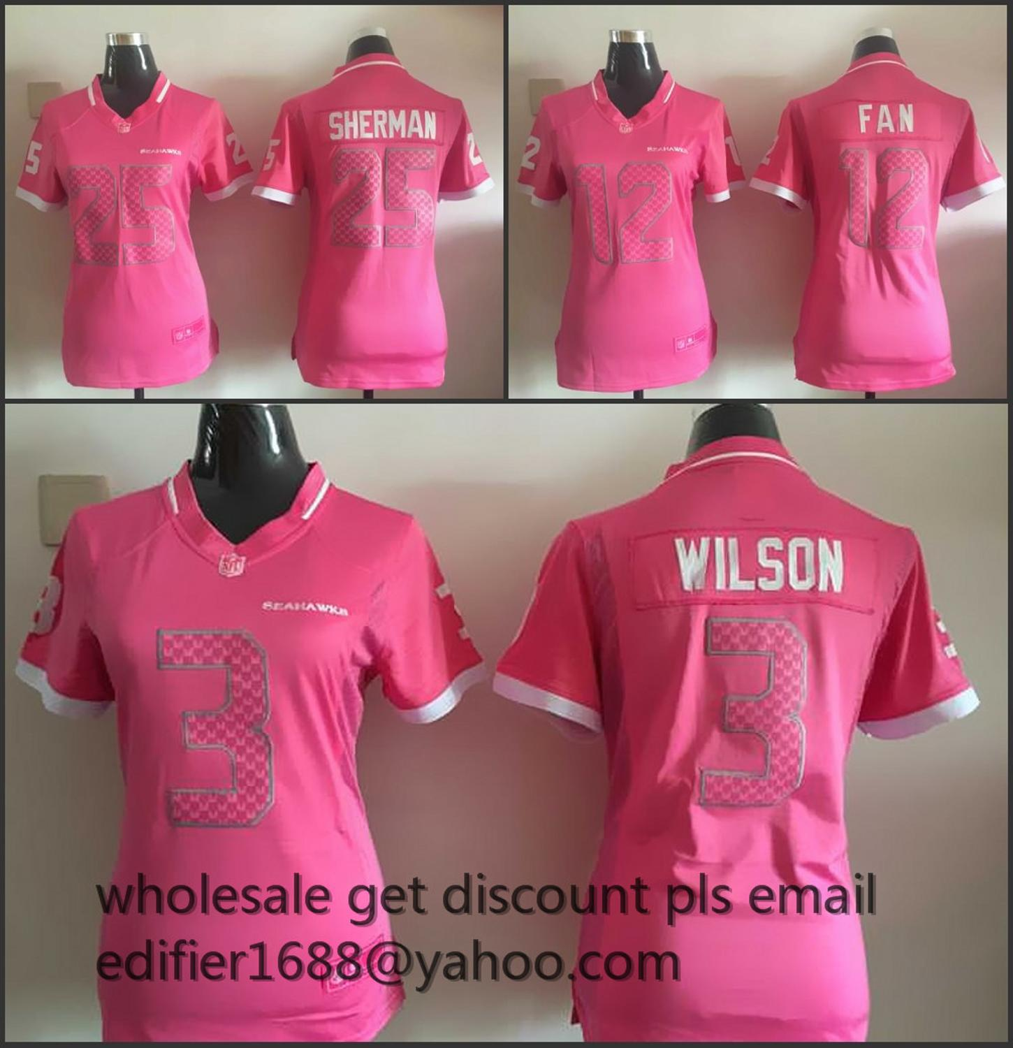 100% stitched women pink love Seattle Seahawks ladies 3 Russell Wilsons 11 Percy Harvin 12 Fan 24 Lynch seahawk 88 Jimmy Graham(China (Mainland))