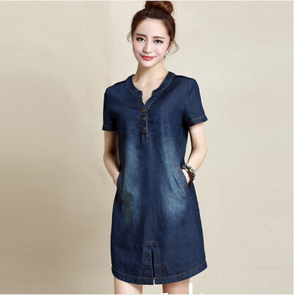 Model 2016 Sexy Women Blue Denim Dress Brand New Slim Jeans Dresses One
