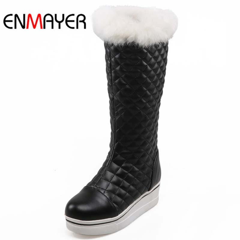 ENMAYER New Size 34-39 Arrival Winter Women Boots Black White Boots Autumn Warm Fur Shoes Boots for Women Platform Boots Sale<br><br>Aliexpress